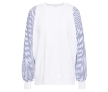 Striped Poplin-paneled Stretch Cotton And Modal-blend French Terry Top