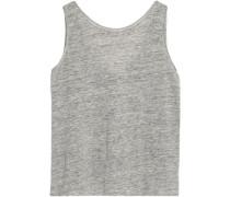 Mélange stretch linen-jersey top