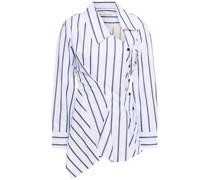 Asymmetrisches Hemd aus Baumwollpopeline mit Streifen und Schößchen