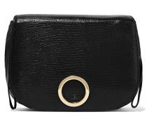 Lizard-effect Leather Shoulder Bag Schwarz