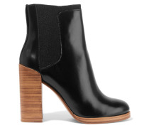 Emerson Canvas-trimmed Polished-leather Ankle Boots Schwarz