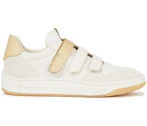 Metallic-trimmed Suede And Canvas Sneakers
