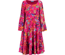 Flared Printed Silk-chiffon Dress Fuchsia