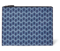 Printed Faux Textured-leather Clutch Himmelblau