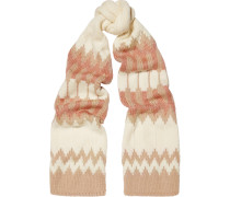 Snow Capsule Intarsia Wool Scarf Creme