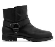 Natalie Textured-leather Boots Schwarz