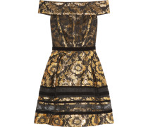 Brocade Mini Dress Gold