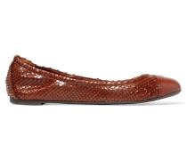 York Snake-effect Leather Ballet Flats Schokoladenbraun