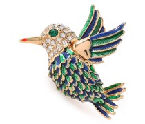 Gold-tone, Crystal And Enamel Brooch