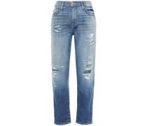 The Fling Verzierte Boyfriend-jeans in Distressed-optik