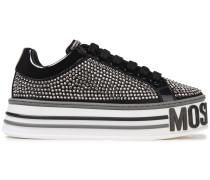 Crystal-embellished Satin Platform Sneakers