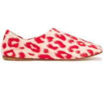Agata Leopard-print Brushed-felt Slippers