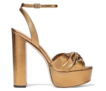 Knotted metallic leather platform sandals