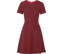 Flared Open-knit Wool-blend Dress Bordeaux
