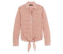 Tie-front Gingham Stretch-cotton Shirt Ziegelrot
