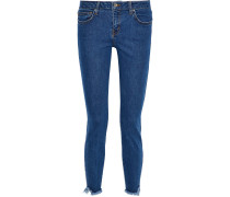 Woman Jarod Cropped Frayed Mid-rise Skinny Jeans Mid Denim