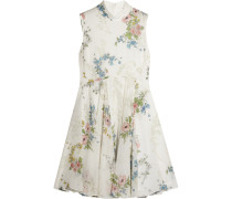 Hambledon Floral-print Silk-georgette Dress Elfenbein