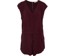 Austin Embroidered Chiffon Playsuit Burgunder