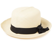 Woman Bow-embellished Frayed Toquilla Straw Sun Hat Black
