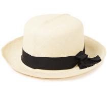 Bow-embellished Frayed Toquilla Straw Sun Hat