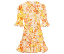 Woman Fluted Floral-print Linen And Cotton-blend Mini Dress Cream