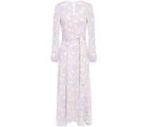 Belted Floral-print Stretch-crepe Midi Dress