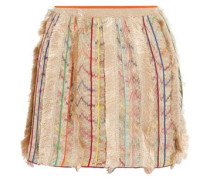 Fringed metallic silk-blend crochet-knit mini skirt