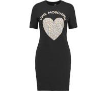 Printed Cotton-jersey Mini Dress Schwarz