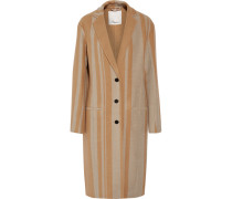 Striped Wool-blend Coat Braun