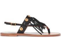 Fringed embellished textured-leather sandals
