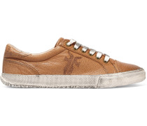 Kira Distressed Textured-leather Sneakers Tan