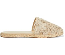Raffia-trimmed Crocheted Cotton Slippers