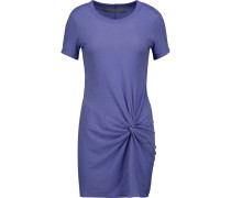Knotted Cotton-jersey Mini Dress Lavendel