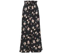Woman Cropped Floral-print Silk-blend Jacquard Wide-leg Pants Black