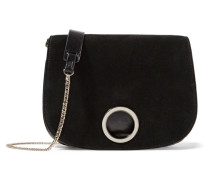 Suede And Textured-leather Shoulder Bag Schwarz