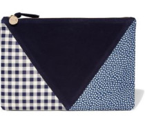 Patchwork printed leather and suede clutch