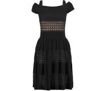 Piper Off-the-shoulder Open-knit Cotton And Silk-blend Dress Schwarz