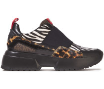 Paneled Printed Calf Hair And Leather Sneakers