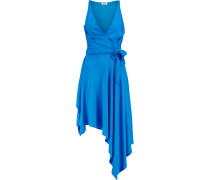 Rubelton Asymmetric Wrap-effect Crepe Dress Hellblau
