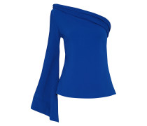 One-shoulder Pleated Crepe Top