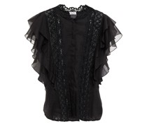 Saida Crocheted Lace-paneled Ruffled Cotton-blend Voile Top