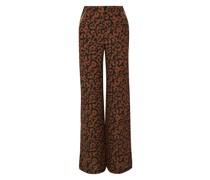 Hose mit Weitem Bein aus Crêpe De Chine aus Seide mit Leopardenprint