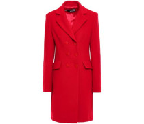 Double-breasted Wool-blend Felt Coat Red