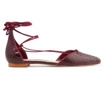 Neida Lace-up Croc-effect Leather Point-toe Flats Merlot