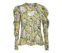 Elliot Geraffte Bluse aus Glänzendem Seiden-twill mit Print