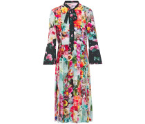Woman Desmine Pussy-bow Floral-print Crepe De Chine Shirt Dress Multicolor