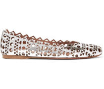 Laser-cut Metallic Leather Ballet Flats