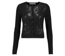 Ibiza Sequined Mesh-paneled Silk-blend Cardigan Schwarz