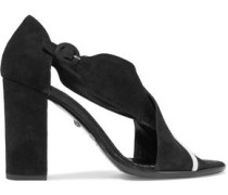 Leather-trimmed suede sandals