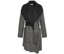 Brushed Wool-blend Felt Coat Gray